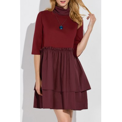 Turtleneck Mini Smock Dress