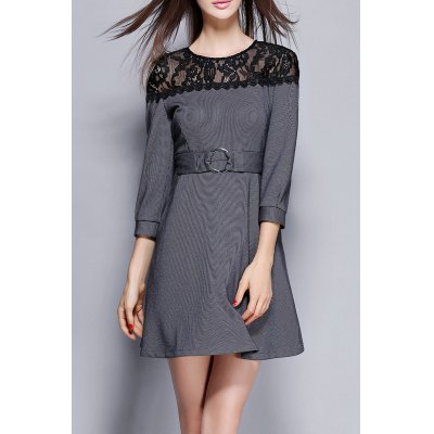 Lace Panel Striped Flare Dress