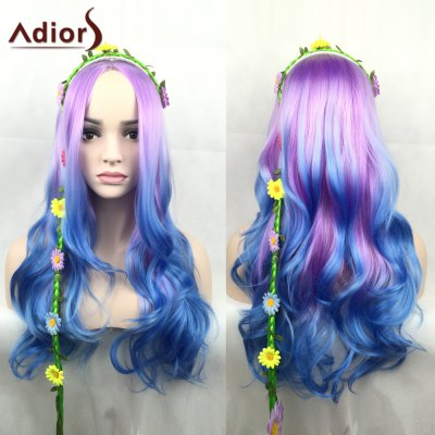 Adiors Long Middle Parting Shaggy Wavy Color Mix Synthetic Party Wig