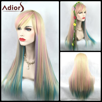 Adiors Long Side Bang Straight Color Mix Synthetic Party Wig