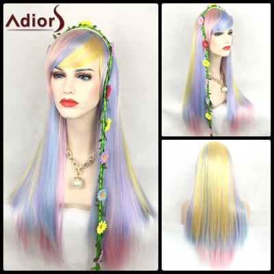 Adiors Long Oblique Bang Straight Color Mix Synthetic Party Wig
