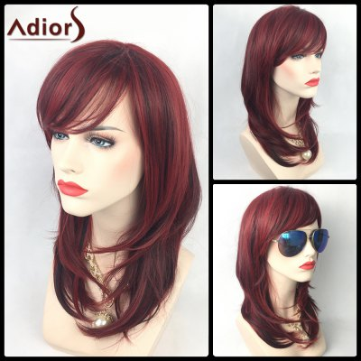 Adiors Long Colormix Layered Side Bang Slightly Curled Synthetic Party Wig
