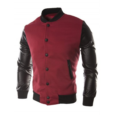 Color Block PU Leather Insert Button Jacket