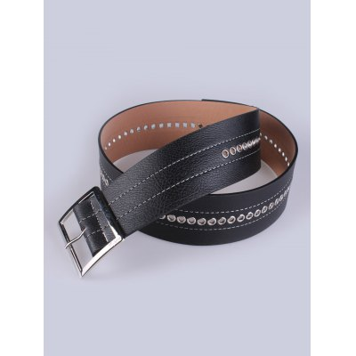 Hollow Out Square Pin Buckle PU Belt