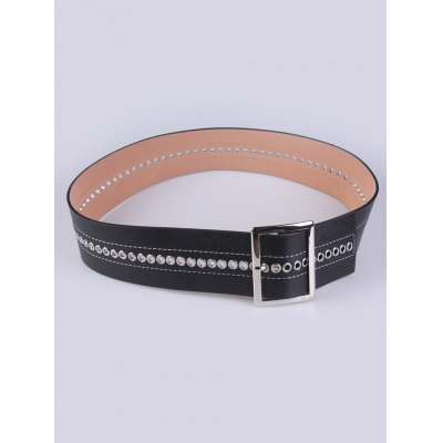 Hollowed Square Pin Buckle PU Belt