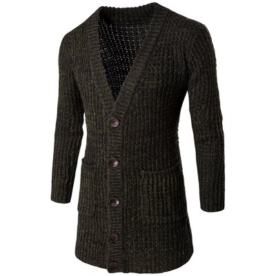 Button Front V Neck Knitted Cardigan
