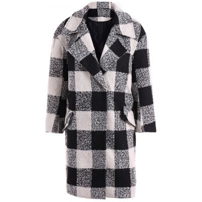 Snap Button Pocket Design Plaid Overcoat