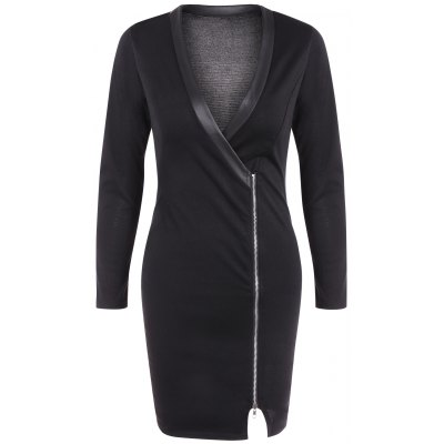 V Neck Zipper Front Bodycon Dress