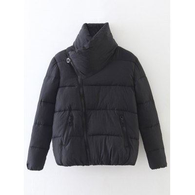 Candy Color Zippered Puffer Jacket