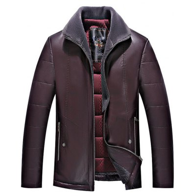 Turndown Collar Zip Up PU Leather Jacket