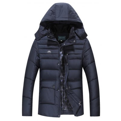 Quilted Zip Up Flap Pocket Hooded Coat