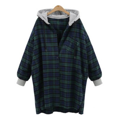 Plus Size Checked Hooded Cocoon Coat