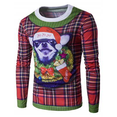 Crew Neck 3D Christmas Dog and Tartan Print T-Shirt