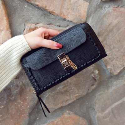 Chain Textured Leather Twist-Lock Closure WalletWomens Wallets<br>Chain Textured Leather Twist-Lock Closure Wallet<br><br>Wallets Type: Clutch Wallets<br>Gender: For Women<br>Style: Fashion<br>Closure Type: Hasp<br>Pattern Type: Solid<br>Main Material: PU<br>Length: 20CM<br>Width: 3CM<br>Height: 10CM<br>Weight: 0.350kg<br>Package Contents: 1 x Wallet