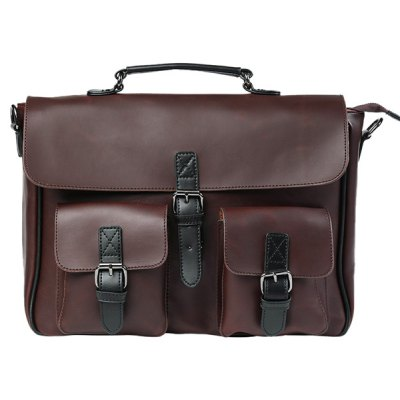 Vintage PU Leather Buckle Straps Briefcase