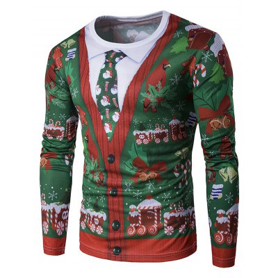 Crew Neck 3D Christmas Tie Costume Faux Twinset Print T-Shirt