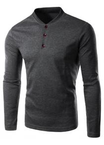 Stand Collar Long Sleeve Button Tee