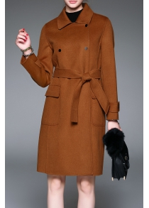 Button Down Wool Coat with Belt