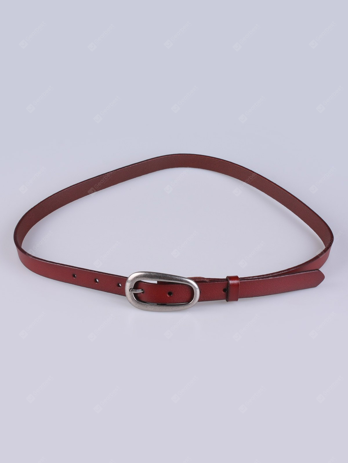 Adjustable Pin Buckle Faux Leather Skinny Belt