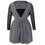 cheap Plus Size Lace Top and Checked Pinafore Dress