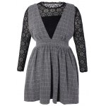 Plus Size Lace Top and Checked Pinafore Dress