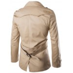cheap Back Vent Epaulet Design Belted Trench Coat