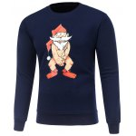 Crew Neck Long Sleeve Bare Father Christmas Print Sweatshirt