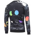 cheap Crew Neck Cartoon Abstract Printed Sweatshirt