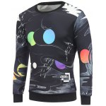 Crew Neck Cartoon Abstract Printed Sweatshirt
