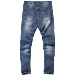 cheap Zippered Paint Splatter Multi Pocket Ripped Jeans