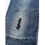 best Zippered Paint Splatter Multi Pocket Ripped Jeans