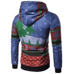 cheap Hooded Father Christmas and House Print Hoodie