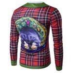 cheap Crew Neck 3D Christmas Dog and Tartan Print T-Shirt