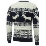 cheap Crew Neck Reindeer Snowflake Christmas Sweater