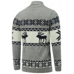 cheap Button Front Reindeer Snowflake Christmas Cardigan