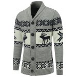 Button Front Reindeer Snowflake Christmas Cardigan