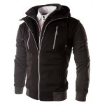 cheap Color Block Zippers Faux Twinset Hoodie