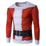 Crew Neck 3D Father Christmas Costume Print T-Shirt