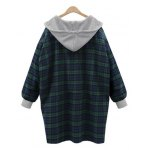 cheap Plus Size Checked Hooded Cocoon Coat