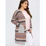 cheap Open Front Knit Striped Cardigan