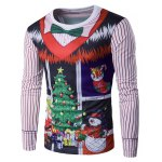 Crew Neck 3D Christmas Bow Tie Costume Faux Twinset Print T-Shirt