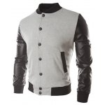 cheap Color Block PU Leather Insert Button Jacket