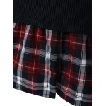 best Plus Size Skinny Ribbed Sweater With Plaid Inset