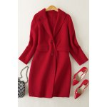 Double Button Wool Coat with Pockets for sale