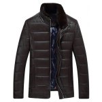 Buy Stand Collar Zip PU Leather Padded Jacket 3XL