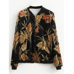 Stand Neck Printed Corduroy Bomber Jacket