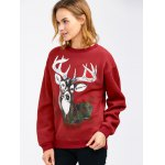 cheap Drop Shoulder Christmas Reindeer Sweatshirt