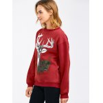 Drop Shoulder Christmas Reindeer Sweatshirt deal