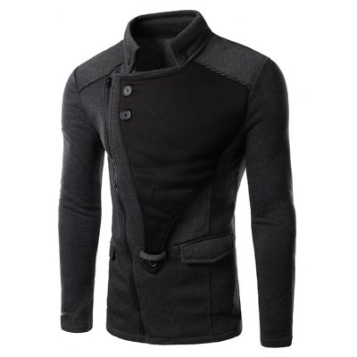 Asymmetrical Zip Up Panel Jacket