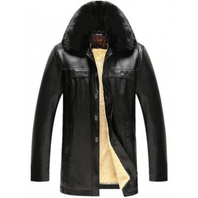 Faux Fur Collar PU Leather Jacket